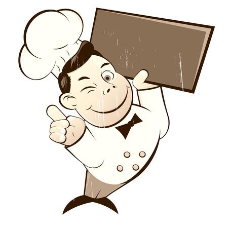 cartoon chef: vintage cartoon chef Illustration