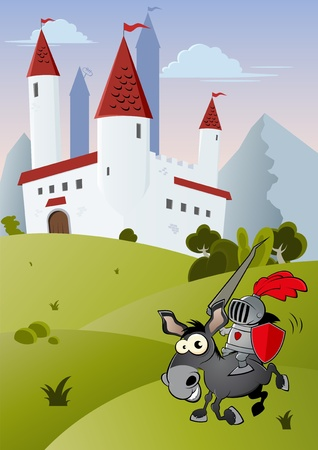 funny cartoon knight in front of a castle Vector