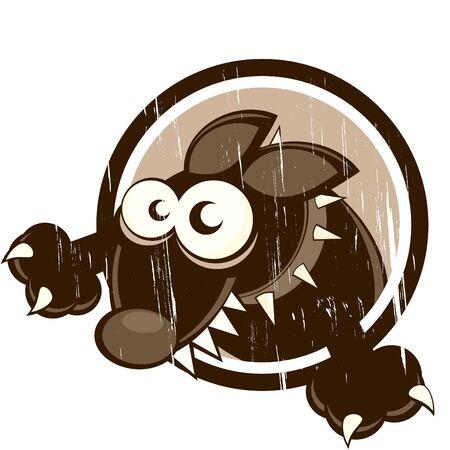 pinch: vintage cartoon dog in badge