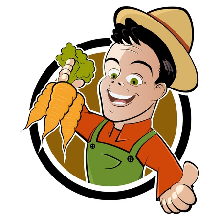 farmer's: funny cartoon farmer Illustration