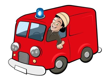 voiture de pompiers: camion de pompier de bande dessinée Illustration