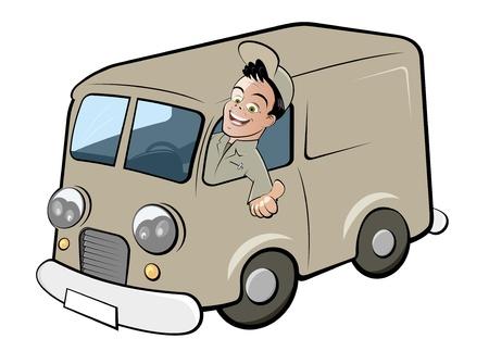 retro truck: funny cartoon deliveryman