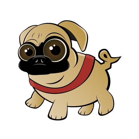 pug dog: funny cartoon pug Illustration