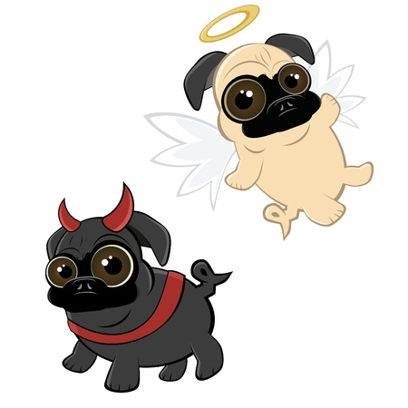 dog costume: funny cartoon pug Illustration