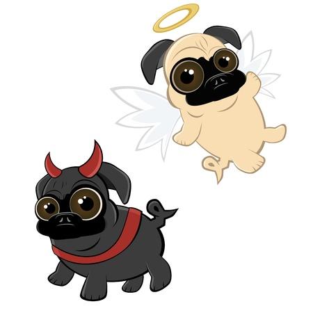 diablo y angel: Historieta divertida pug Vectores