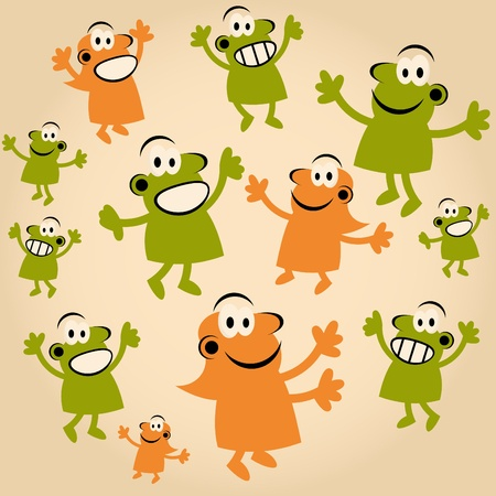 funny cartoon people are happy Stock Vector - 13197799