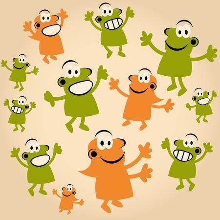 masses: funny cartoon people are happy Illustration