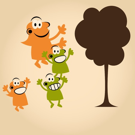 funny cartoon people and tree Stock Vector - 13197804