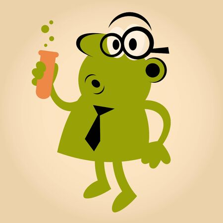 funny retro cartoon scientist Vector