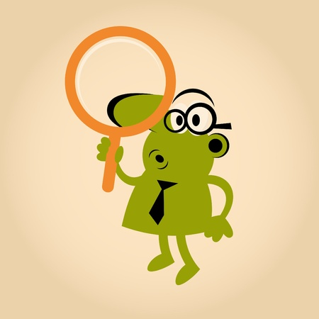 funny cartoon man with magnifying glass Vector