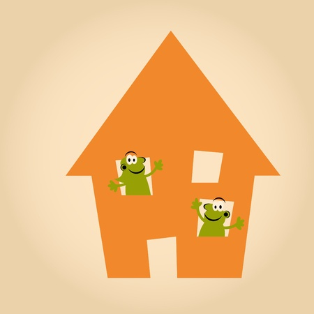 funny cartoon people in house Vector