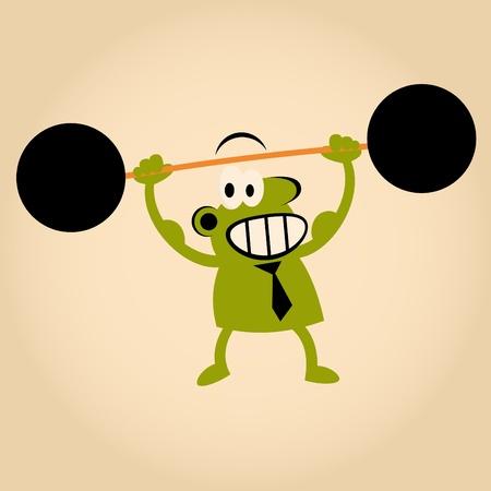 hombre levantando pesas: fuertes de dibujos animados El hombre levantando pesas Vectores