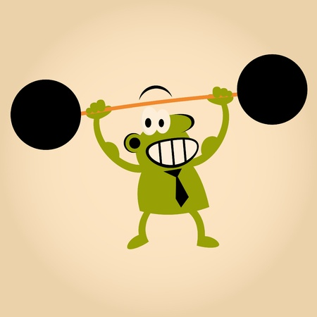strong cartoon man lifting weights Vector