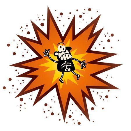 explosie: grappige cartoon explosie Stock Illustratie