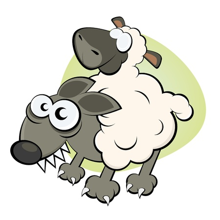funny wolf in sheep s clothing Vector