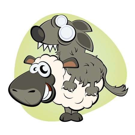 funny sheep in wolf s clothing Vector