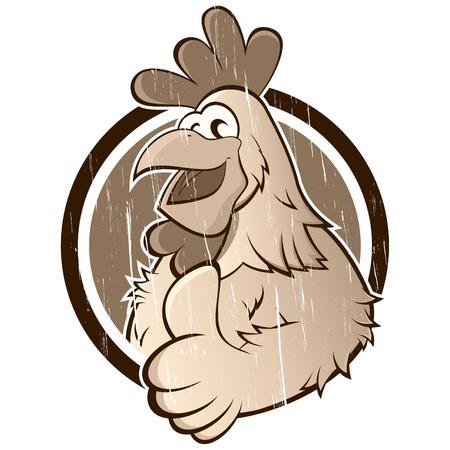 pollo caricatura: pollo de la historieta de la vendimia Vectores