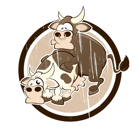vintage cow and bull having sex in a badge