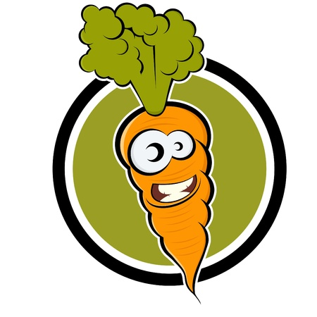 cartoon carrot in a badge Vector