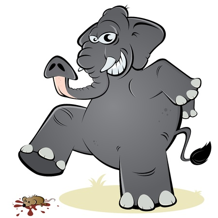 elephant angry: elephant and mouse Illustration