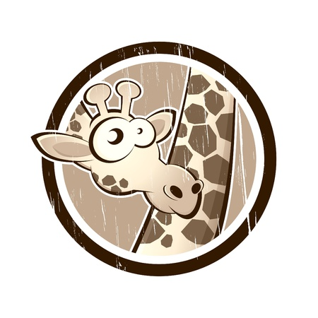 vintage giraffe in a badge Stock Vector - 13952334