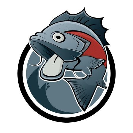 pez carpa: de dibujos animados signo de pescado Vectores