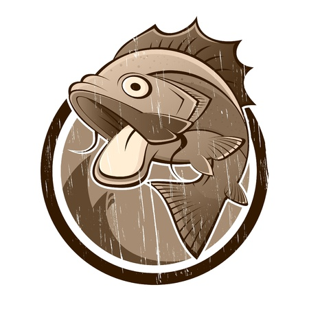 vintage cartoon vis teken