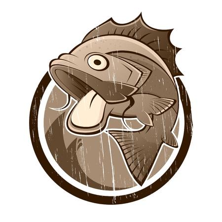 carp fishing: Vintage fumetto segno del pesce