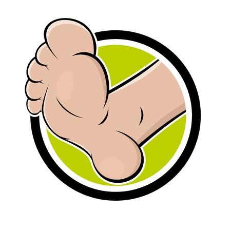 foot step: cartone animato divertente in piedi un badge