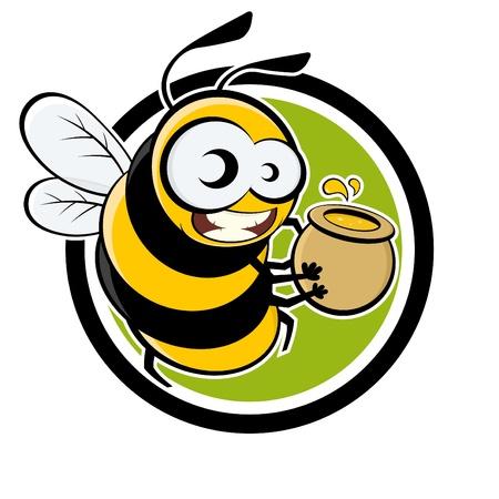 Cartoon Biene mit Honig in einer Plakette