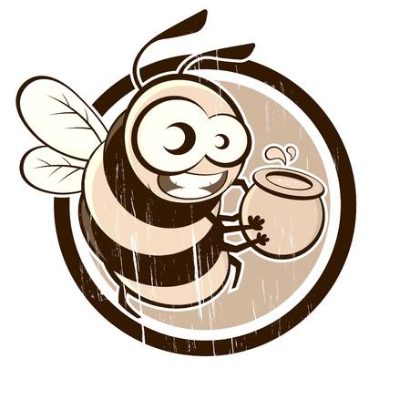 honeybee: vintage bee with honey in a badge