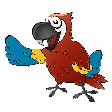 funny cartoon parrot Illustration