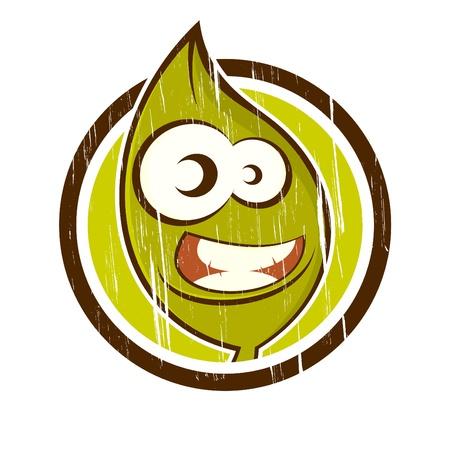 vintage cartoon plant in a badge Stock Vector - 13952331