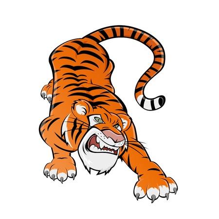tigre caricatura: el tigre de dibujos animados poderosa Vectores