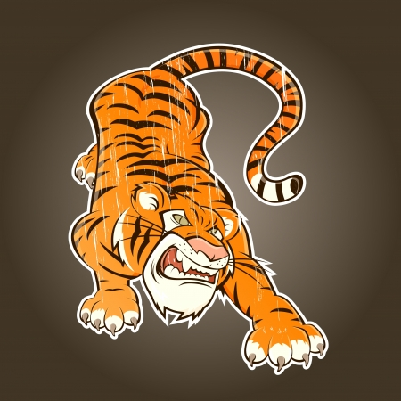 vintage cartoon tiger Vector