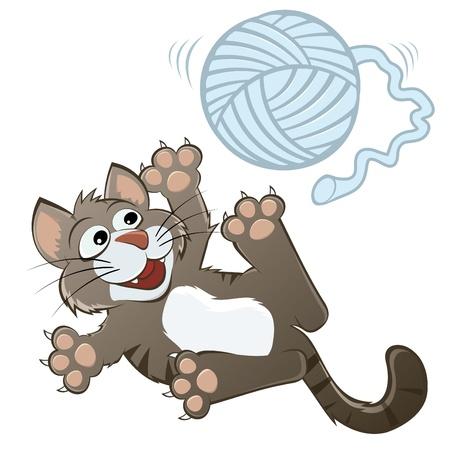 playful: funny cartoon cat