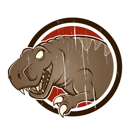 vintage t-rex in a badge Vector