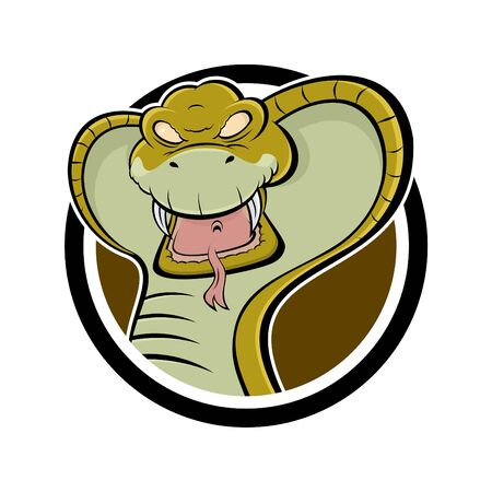 angry cartoon cobra in a badge Vector