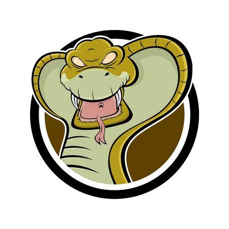serpiente cobra: cobra de dibujos animados enojado en una placa