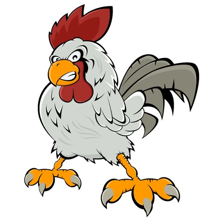 angry cartoon rooster Vector