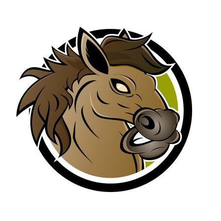 angry cartoon horse Vector