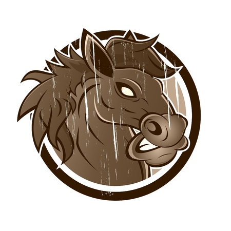vintage cartoon horse in a badge Vector