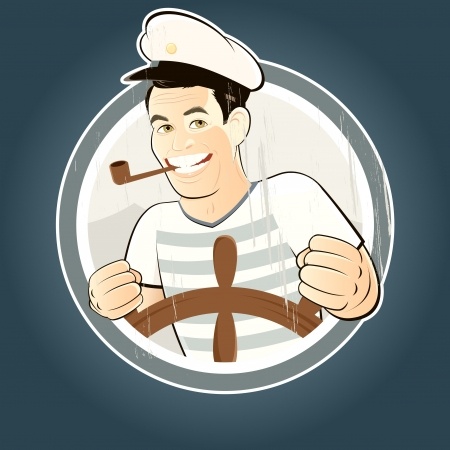 captain: vintage sailor sign Illustration