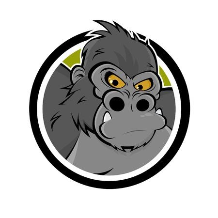 boos cartoon gorilla in een badge Stock Illustratie