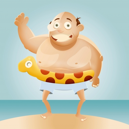 Cartoon fat man on beach