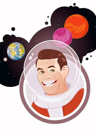 cartoon astronaut with planet background Stock Photo - 15731853