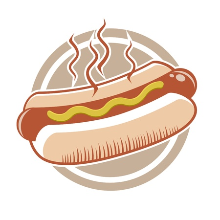 hot dog: hot dog in a badge Illustration