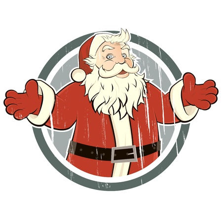 vintage santa claus in a badge Illustration