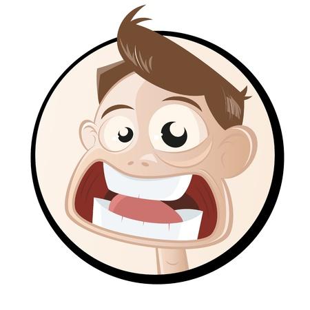 panique: homme de dessin anim� terrifi� dans un badge