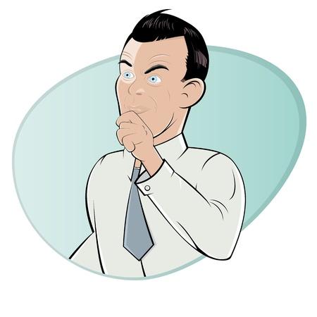 skeptical cartoon man Illustration